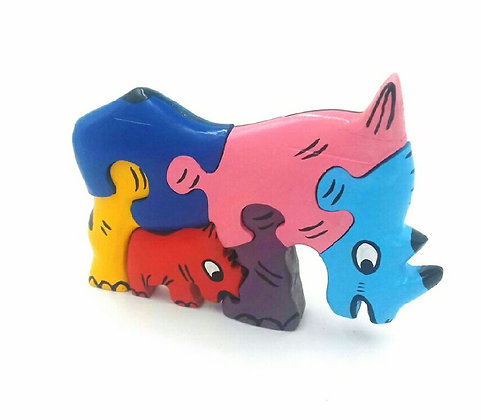 Puzzle rhinocéros en bois