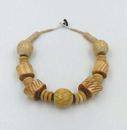 """Collier """"os, bois et coquillages"""""""