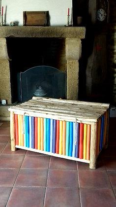 Coffre bois multicolore