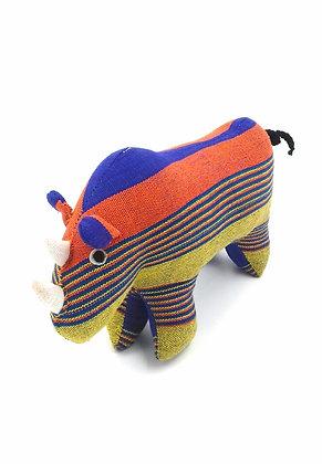 Rhinocéros décoratif en tissu traditionnel