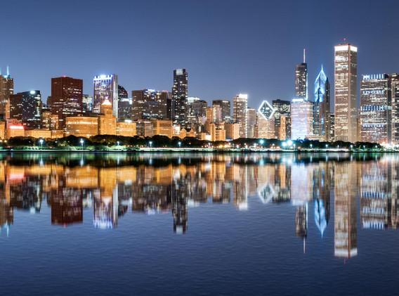 Chicago's reflection on lake michigan