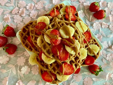 Peanut Butter Strawberry Waffles
