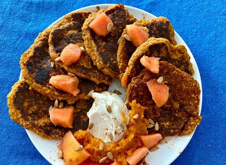 Pumpkin Papaya Pancakes (vegan)