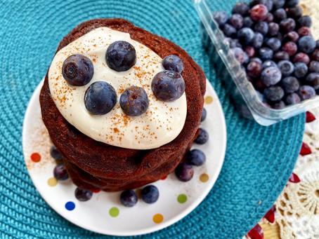 Vegan Red Velvet Blueberry Pancakes
