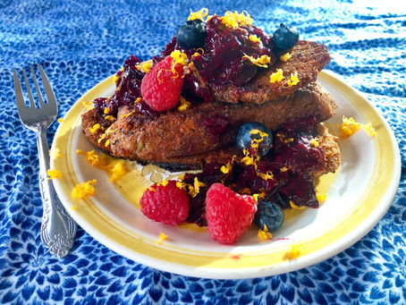 Healthy Vegan French Toast with Orange Zest and Berry Compote