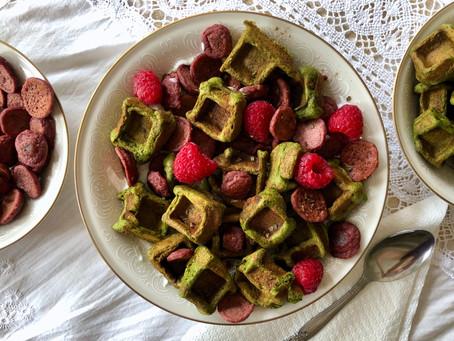 "Raspberry Pancake and Matcha Mint Waffle ""Cereal"""