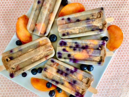 Peach Blueberry Almond Popsicles (vegan, gluten-free)