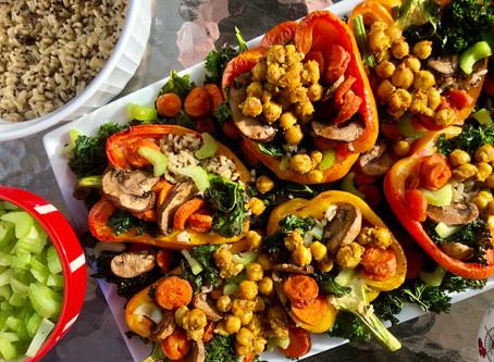 Chickpea, Veggie, and Quinoa Stuffed Peppers
