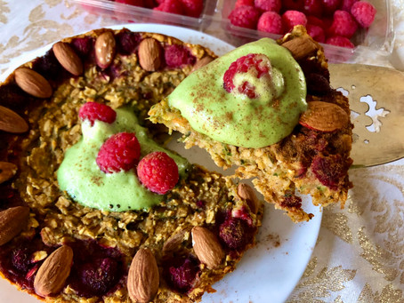 Almond Sweet Potato Oat Bake (with Whipped Matcha Topping)