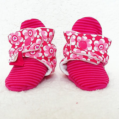"chaussons ""fleurs roses""0/6 mois"