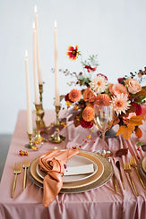 Beautiful table setting with autumn flow