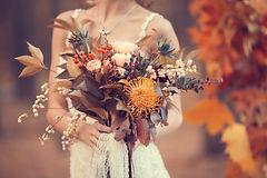 Bright unusual elegant autumn bouquet in