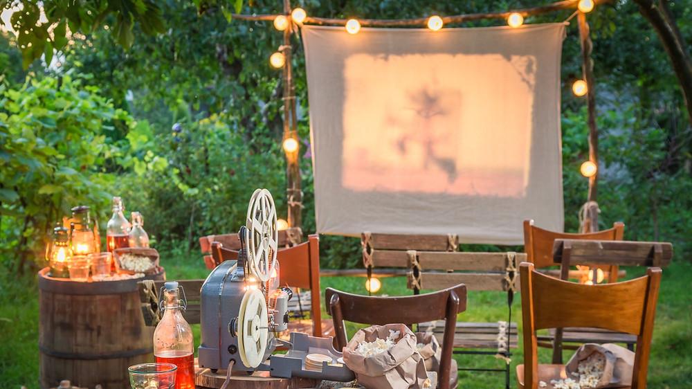 projection de film en plein air espace enfants mariage