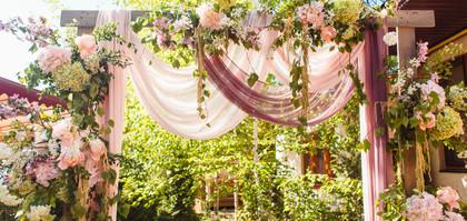 Wedding decoration ceremony. Arch of flo