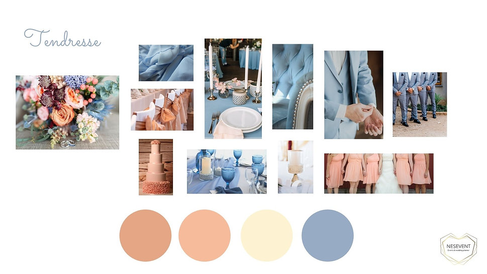 décoration mariage bleu planche d'ambiance