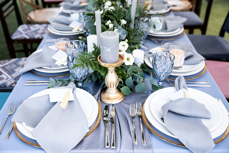 Festive table decorated with garland of