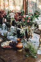 Closeup of reception table decorated by