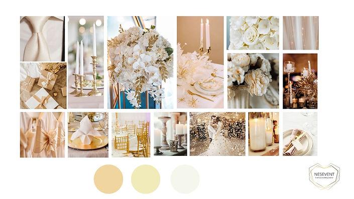 décoration mariage Ivoire et doré planche d'ambiance.jpg