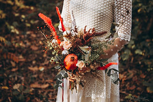 beautiful wedding bouquet in the hands o