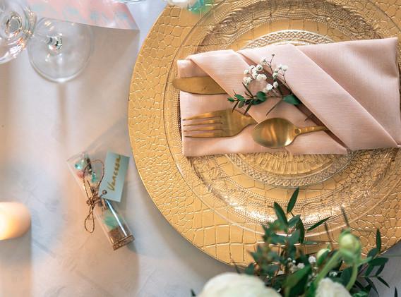 décoration mint et pêche