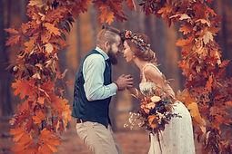 Beautiful bridal couple, bearded bride a