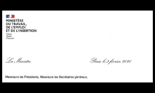 Courrier de la Ministre du travail Elisabeth Borne