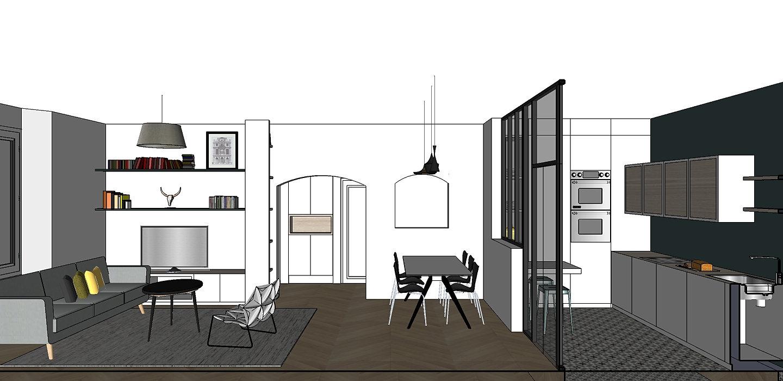 celia santoni architecture int rieure ajaccio coupe salon cuisine avec verri re. Black Bedroom Furniture Sets. Home Design Ideas