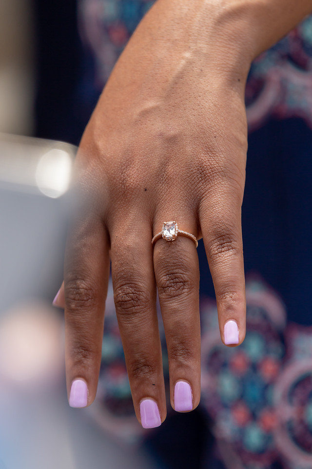 De'Shera shows off her gorgeous engagement ring after Nic's classic proposal in downtown Norfolk, Va.