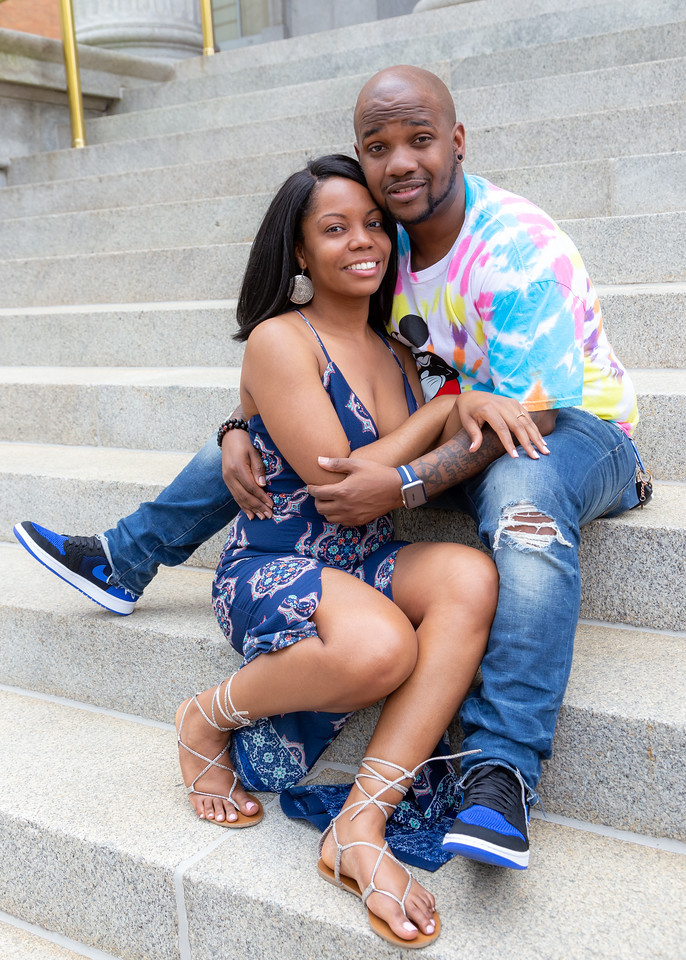 Nic and De'Shera pose for a portrait after their classic proposal in downtown Norfolk, Va.