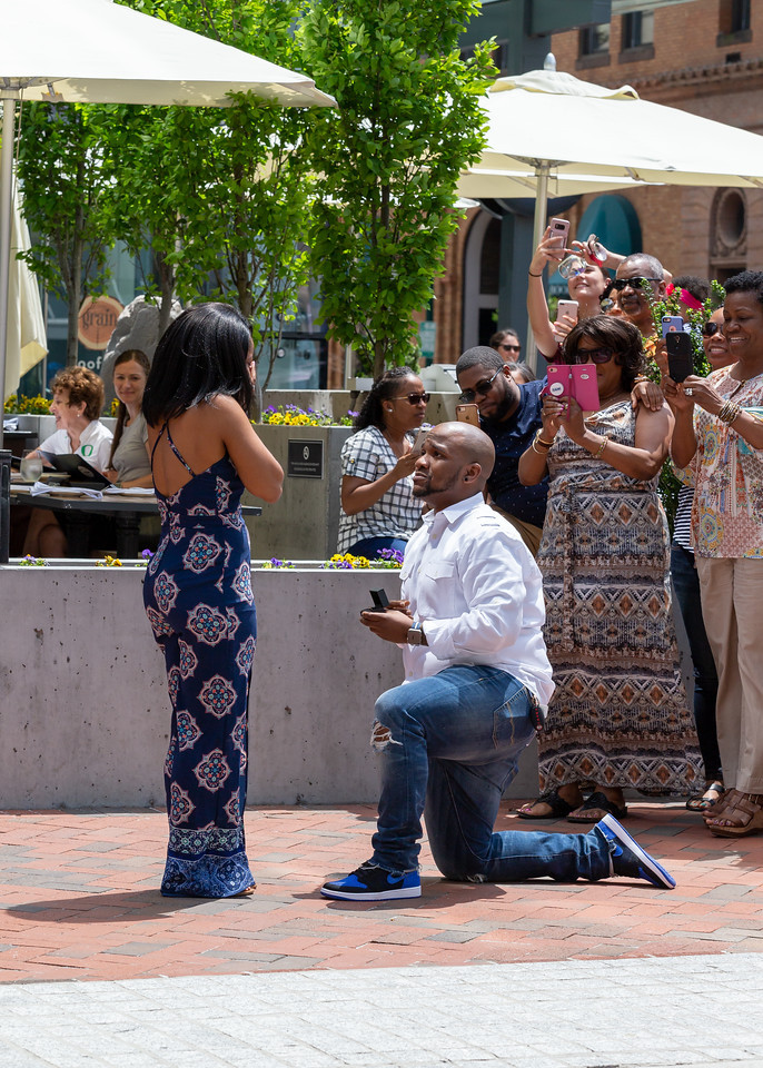 Nic down on one knee for a classic proposal in downtown Norfolk, Virginia.