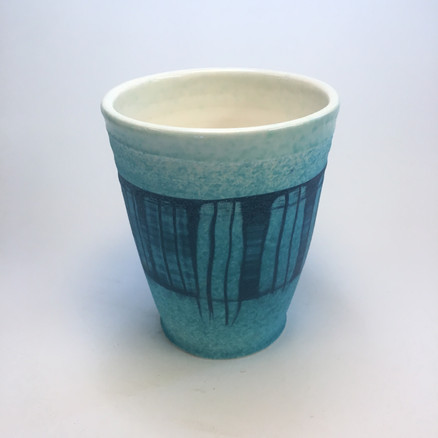 Beaker with blue with stripes