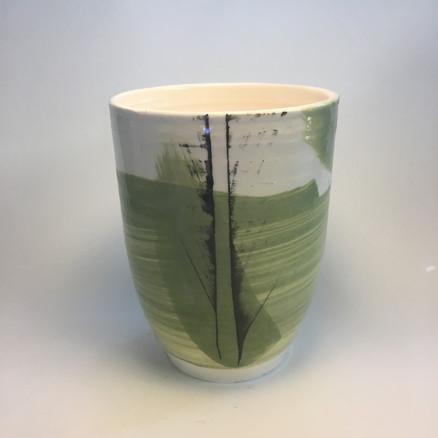 Deep vase - green slip decoartion