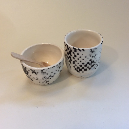 Salt and Pepper bowls with spoons
