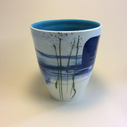 Deep vase blue seascape design