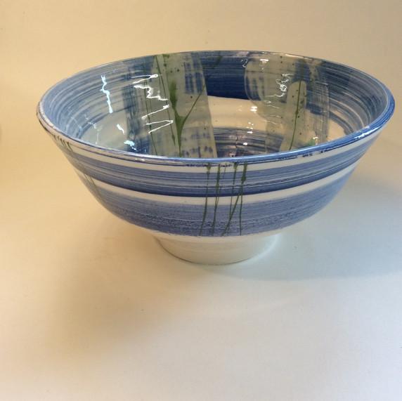 Large bowl blue  slip decoration
