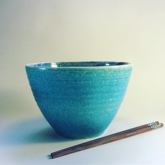 Large bowl blue spiral inside