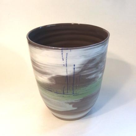 Deep Vase Dark Clay Slip Decoration