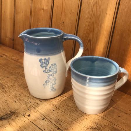 Blue and white Jug & mug