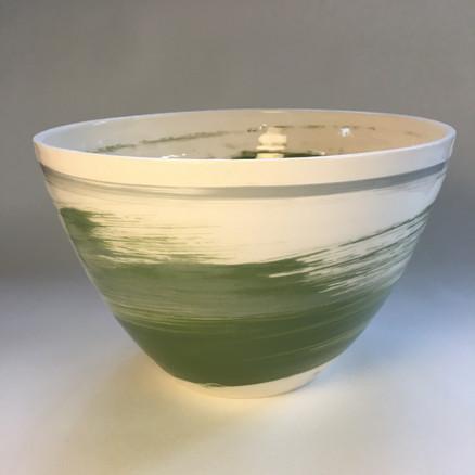 Deep Bowl Green Slip decoration