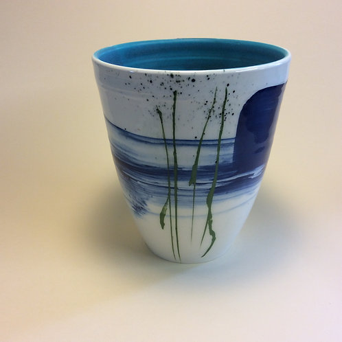 Deep blue vase with seascape design