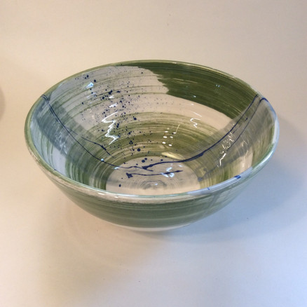 Large bowl green slip decoration