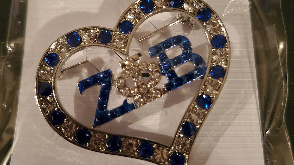Zeta Heart Bling Pin