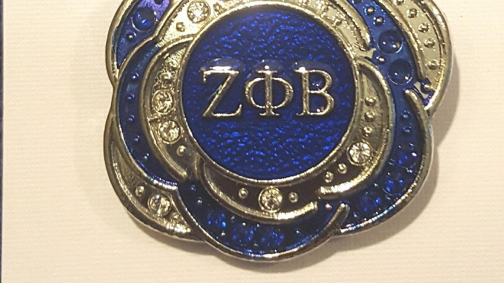 Zeta Blue n silver Brooch