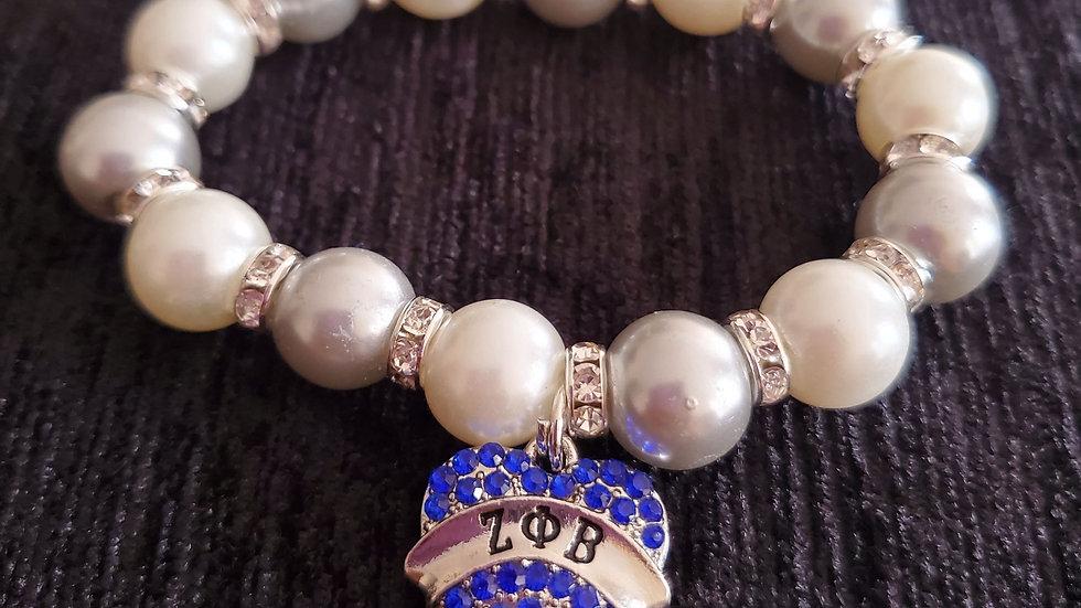 Zeta Heart Pearl Bracelet