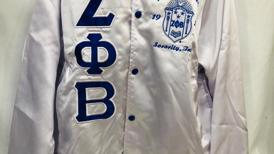 Zeta White Satin Jacket