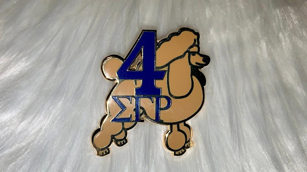 Gold Sgrho poodle number pin