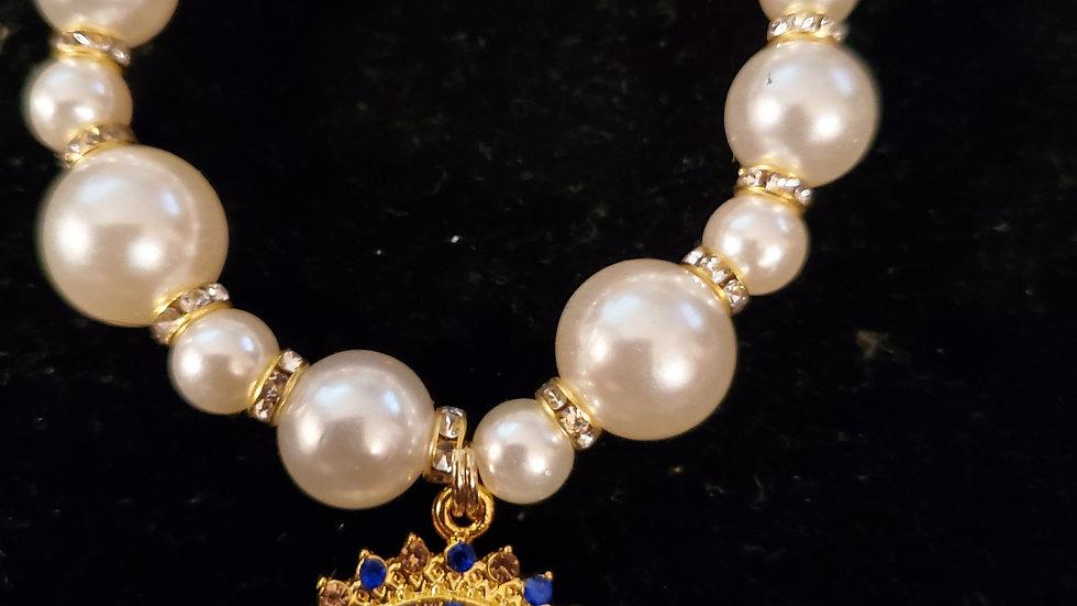 Sgrho New Blue Letter Pearl Bracelet