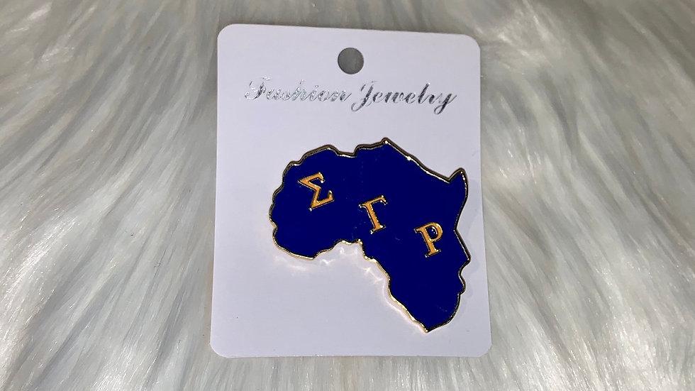 Sgrho Big Africa shaped pin