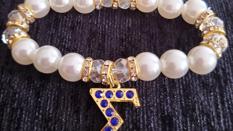 Sgrho Blue Sigma Pearl Bracelet