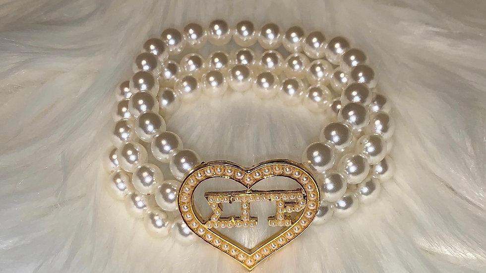 SGRho Heart Pearl Bracelet